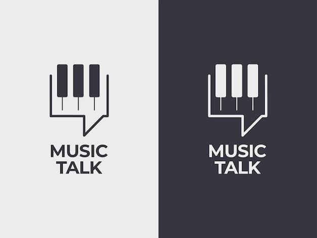 Música conversa conceito de design de logotipo ilustração de piano