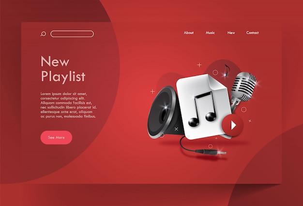 Música da página de destino, nova lista de reprodução