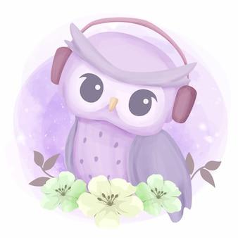 Música de audição de amor de coruja com fone de ouvido