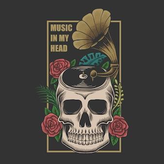 Música de caveira na ilustração da cabeça