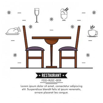 Música de comida de restaurante e gráfico de cerveja com informação