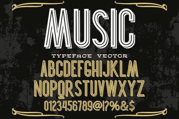 Música de design de rótulo de tipografia vintage