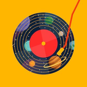 Música de discos de vinil com galáxia em vinil no gráfico de backgroud amarelo