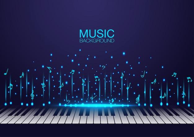 Música de fundo com teclas de piano