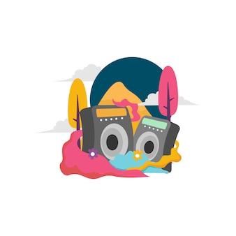 Música de rádio com fundo colorido