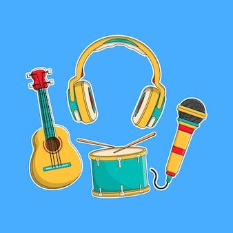 Música definir ilustração vetorial com estilo cartoon