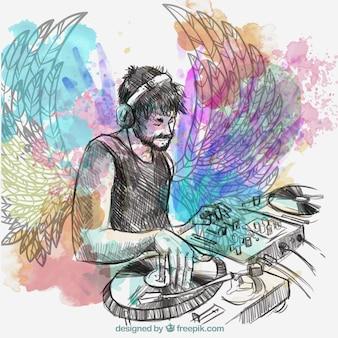 Música do dj com asas e alto-falantes