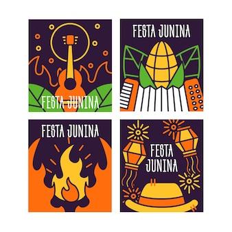 Música e fogueira festa junina cartões