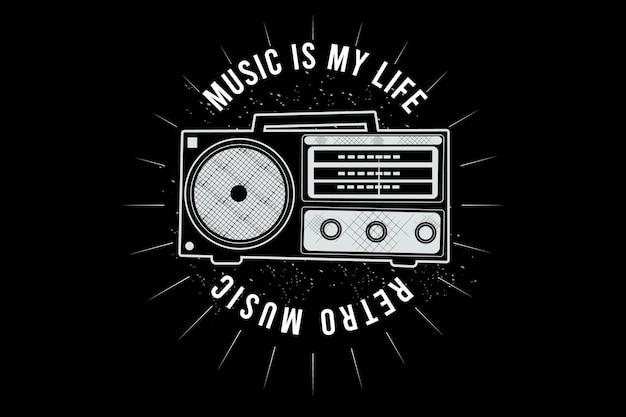 Música é minha vida, design de tipografia de música retrô com rádio