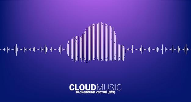 Música em nuvem e conceito de tecnologia de som. onda de equalizador como forma de nuvem