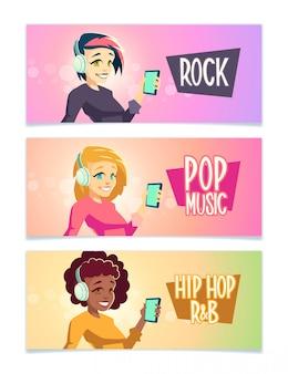 Música feminina inferior dos desenhos animados banner conjunto com morena