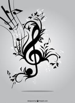 Música floral chave vector