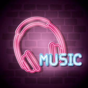 Música iluminada design de ilustração de vetor de rótulo de néon