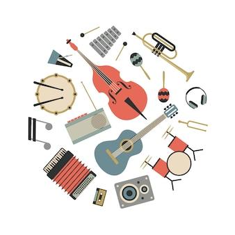 Música, ilustração plana de instrumentos musicais, conjunto de ícones