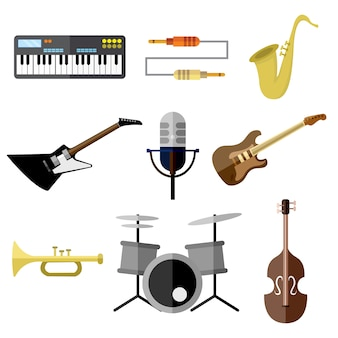 Música intrument band equipment ilustração vetorial graphic set