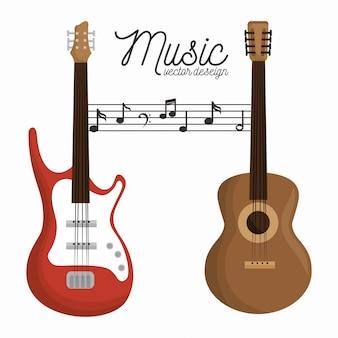 Música letra guitarra e guitarra de madeira fundo branco