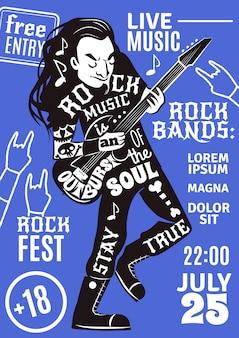 Música letras silhueta cartaz rock