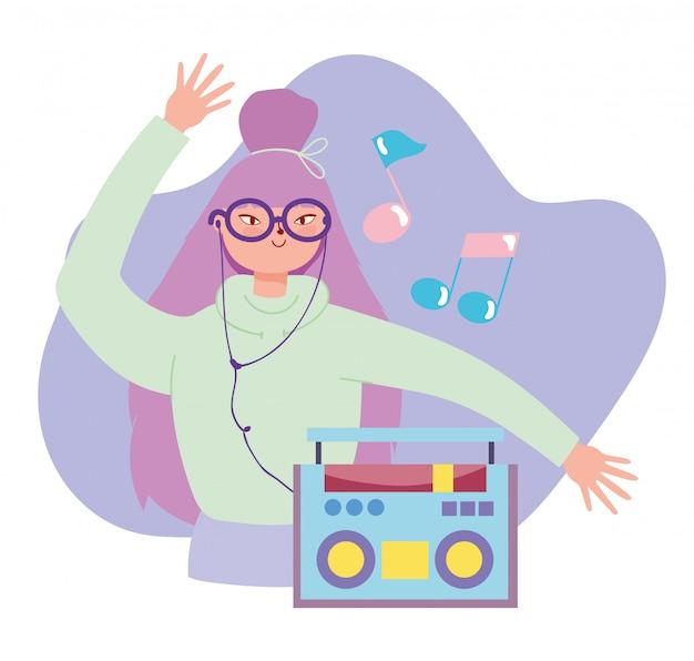 Música menina com fones de ouvido conectados em estéreo
