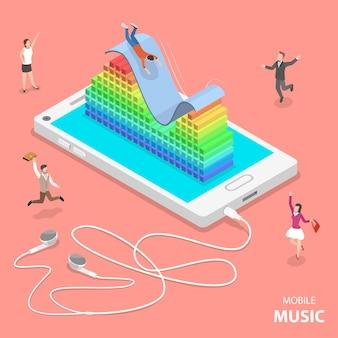Música móvel plano isométrico.