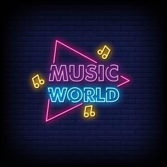 Música mundo sinais de néon estilo texto