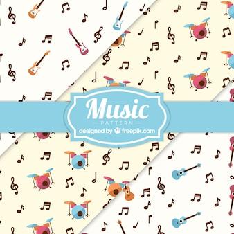Música, notas, instrumentos, padrão, fundo