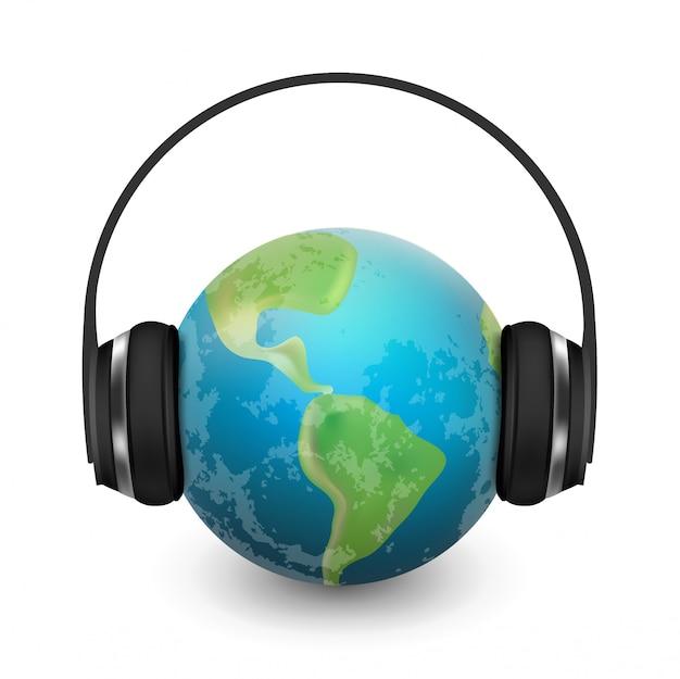 Música planeta terra com fones de ouvido realista