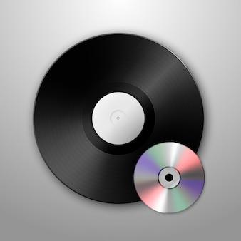 Música realista gramofone vinil lp registro e cd ícones. modelo.
