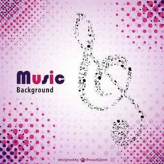 Música retro-de-rosa do vetor