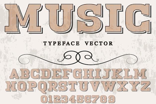 Música retro do projeto da pia batismal da tipografia