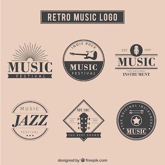 Música retro logotipo set