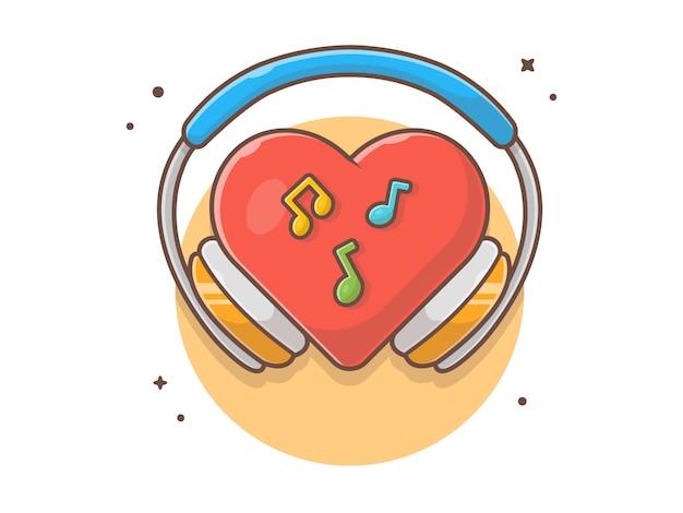 Música vermelha do amor da lareira com fones de ouvido, nota e ilustração em vetor música ícone. conceito ícone música branco isolado