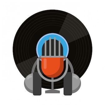 Música vintage de microfone e fones de ouvido de vinil