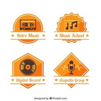 Música vintage estúdio logos
