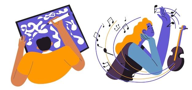 Músico artista de pessoas criativas com instrumento