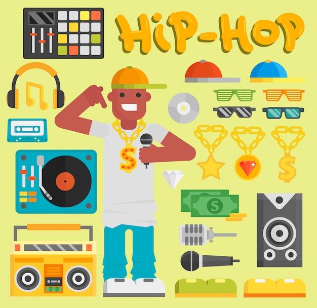 Músico de hip-hop homem com microfone breakdance rap expressivo moderno novo rapper cara dançarino na moda urbano