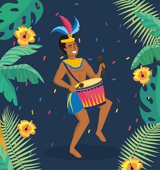 Músico de homem com tambor e folhas com flores