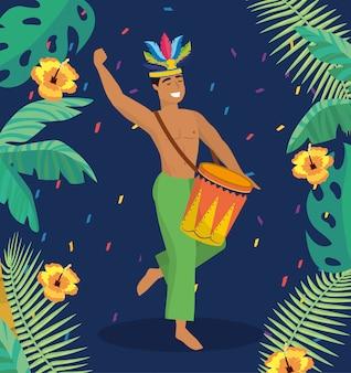 Músico de homem com tambor e galhos de folhas