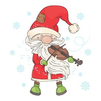 Músico de natal de violin santa