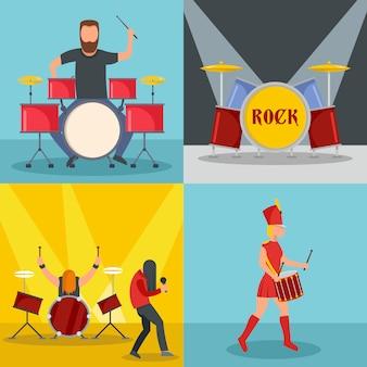 Músico de rock de baterista