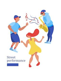 Músico de rua. man band. desempenho de rua. ilustração vetorial.