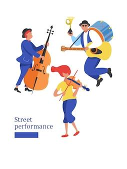Músico de rua. saxofonista, violinista, violonista, dançarinos. desempenho de rua.