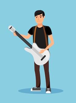 Músico de rua tocando o personagem de desenho animado de guitarra