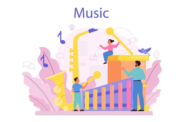Músico e ilustração do curso de música