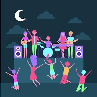 Músico pessoas com cantor equipamento cena concerto à noite