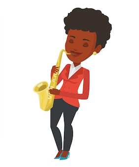 Músico tocando na ilustração vetorial de saxofone.