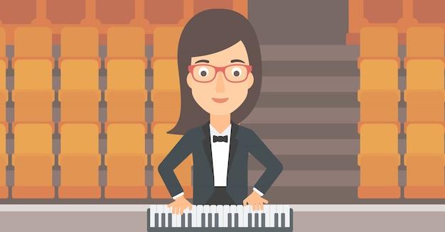 Músico tocando piano.