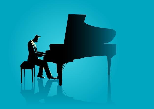 Músico, tocando, piano