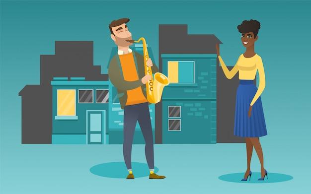 Músico tocando saxofone para sua namorada.