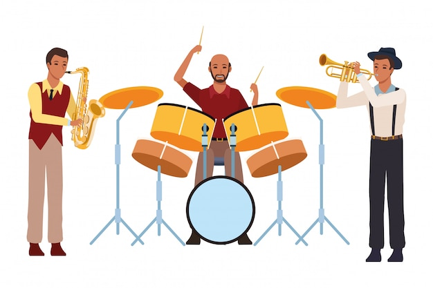 Músico, tocando, saxofone, tambores, e, trompete