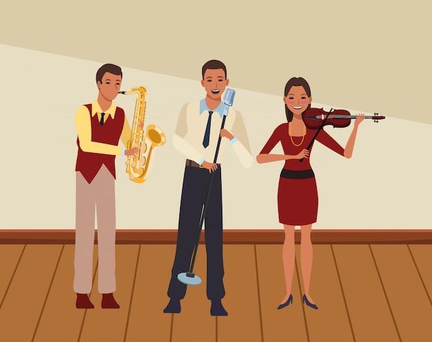 Músico tocando saxofone violino e cantando